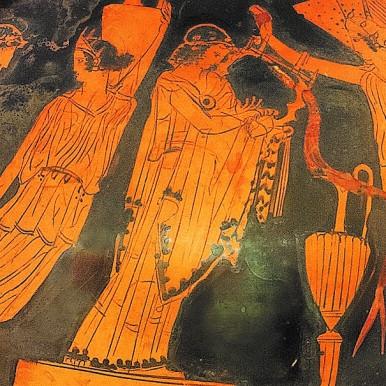 Πελίκη με παράσταση μουσικού αγώνα. Από την Αθήνα, τέλη 5ου αι. π.Χ.