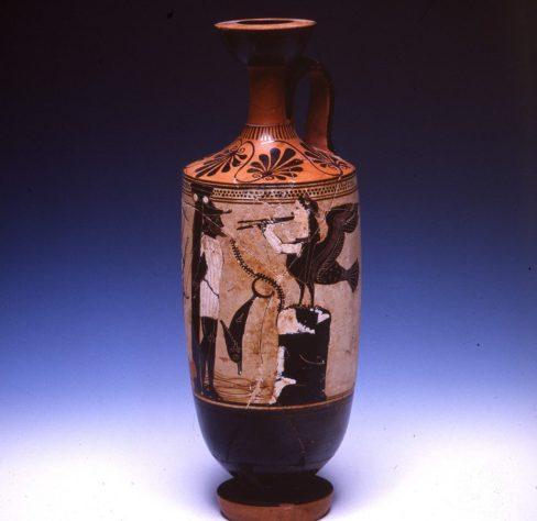 Ο Οδυσσέας δεμένος στο κατάρτι του πλοίου του ακούει τις Σειρήνες. Λευκή λήκυθος από την Ερέτρια, τέλη 6ου αι. π.Χ.