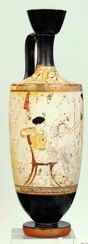 Αττική λευκή λήκυθος Α1818. Zωγράφος του Αχιλλέα. 450-440 π.Χ.