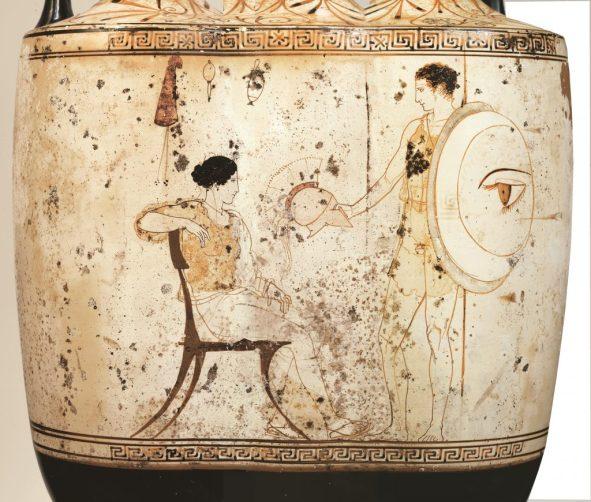 Αττική λευκή λήκυθος Α1818. Σκηνή αποχαιρετισμού ενός πολεμιστή. Αριστουργηματικό έργο του Ζωγράφου του Αχιλλέα.450-440 π.Χ.