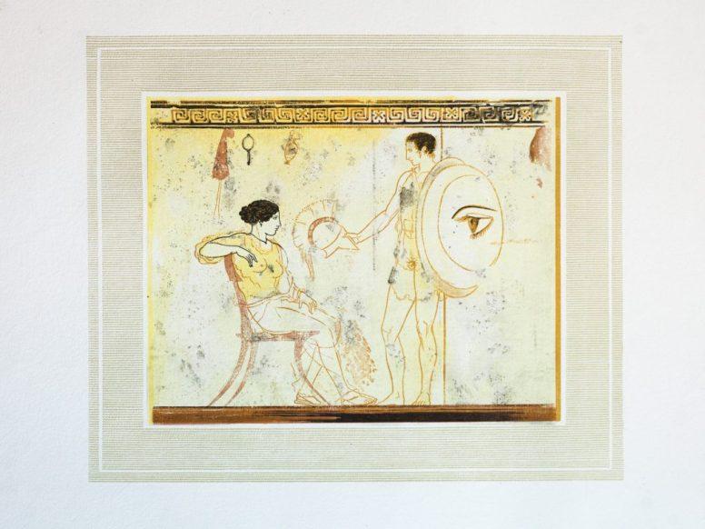 Χαρακτικό του Γιάννη Κεφαλληνού με τη λευκή λήκυθο Α1818, του λεγόμενου Ζωγράφου του Αχιλλέα.