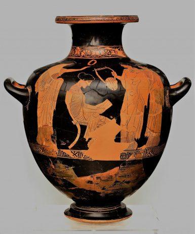 Ερυθρόμορφη υδρία του εργαστηρίου του ζ. του Πολυγνώτου με παράσταση της Σαπφούς που διαβάζει κάποιο ποίημα. Από τη Βάρη Αττικής. 440-430 π.X. ΕΑΜ Α1260